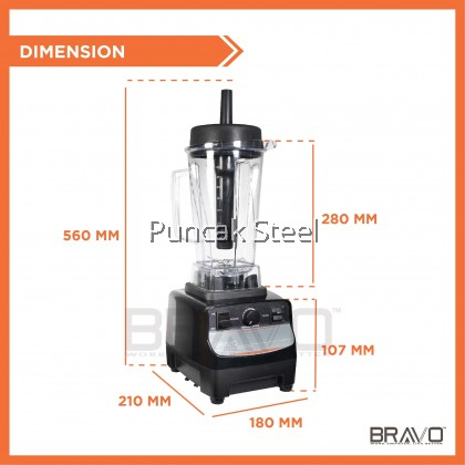 BRAVO 1500W Heavy Duty High Quality Commercial Professional Powerful Durable Multipurpose Kitchen Restaurant Cafe Home Portable Healthy Nutrition Juice Ice Blend Smoothie Fruits Sauce Protein Meat Sharp Blade Solid Jug Blender Mesin Pengisar Buah Ais