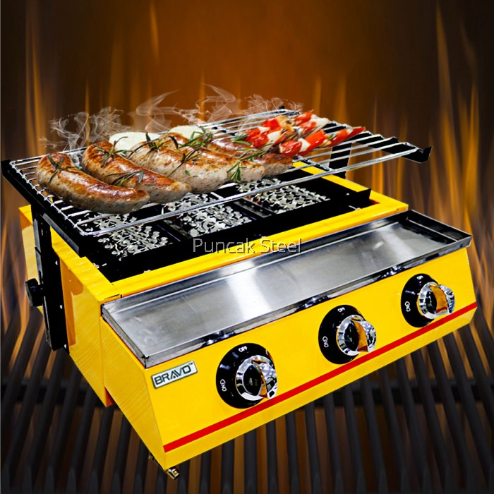 Bbq Grill Gas With 3 Burners For Outdoor Barbecue