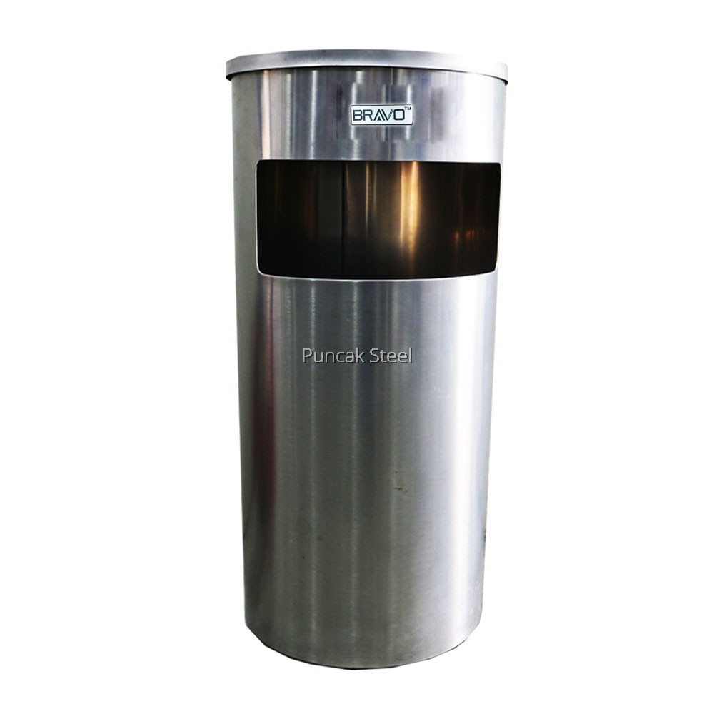 Stainless Steel Dustbin With Ashtray Round Square