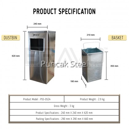 [READY STOCK] BRAVO Stainless Steel Quality Shiny Elegant Modern Commercial Office Hotel Airport Mall Restaurant Cafe Food Court Light Easy Cleaning Inner Basket Dustbin Rubbish Garbage Bin With Ashtray Round/Square/Diamond [SAME DAY DELIVERY]