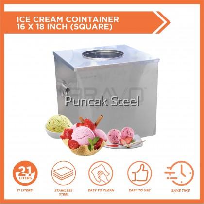 BRAVO Tong Aiskrim Ice Cream Container 16x18 inch Stainless Steel Mudah Alih Tebal Kualiti Keluli Tahan Karat Lasak Niaga Bisnes Rumah Parti Kenduri Katering Bufet Acara Majlis Perkhawinan Hari Jadi Makanan Sejuk Manisan Snek Tepi Jalan Sekolah Atas Motor