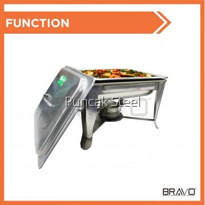 BRAVO [Chafing Dish HALF SIZE] Stainless Steel Rectangular Chafing Dish Food Preparation Bekas Lauk Pauk Kenduri for Wedding, Catering, Hotel Food Display