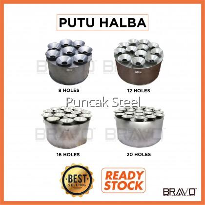 BRAVO [8/12/16/20 Holes] Stainless Steel Quality Portable Putu Halba Piring Steamer Cooker Lubang Dapur Kuih Putu Halba [PROVIDE ADD ON FOR EXTRA MOLD & COVER]