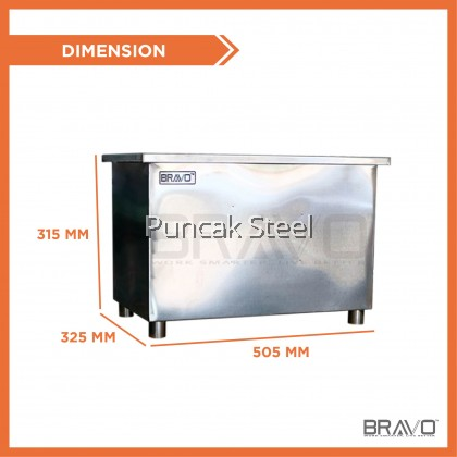 [Ready Stock] BRAVO BIG*40L 505x325x315 MM Stainless Steel Commercial Heavy Duty Industry Home use Quality Thick Grease Trap Interceptor For Bowl Sink Oil Filter Separator Perangkap Minyak Penapis Minyak Gris for Restaurant, Hotel, Cafe Kitchen