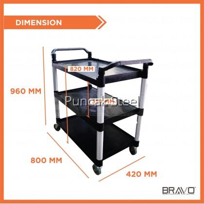 Bravo Restaurant Dining 3 Tier Plastic Food Kitchen Trolley Cart , DIM: 800x420x960 mm (Small)