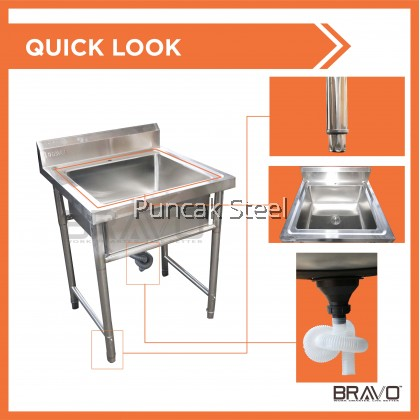BRAVO [2x2 Feet Single Centre Sink Bowl] Stainless Steel High Quality Sturdy Heavy Duty DIY Commercial Factory Canteen Cafeteria Restaurant Kitchen Home Free Standing Back Splash Single Bowl Sink + Free Accessory [PROVIDE HOLE DRILLING SERVICE]